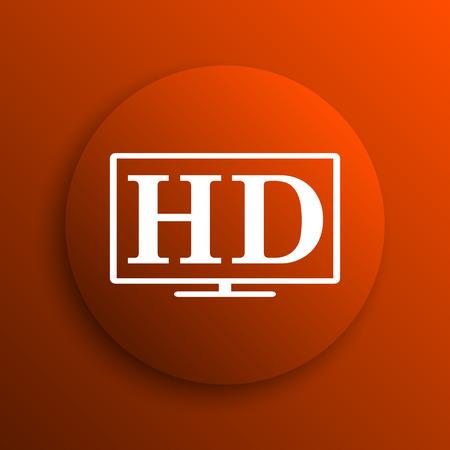 hd tv: HD TV icon. Internet button on orange background Stock Photo