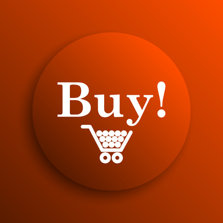 buy icon: Buy icon. Internet button on orange background
