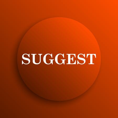 suggest: Suggest icon. Internet button on orange background