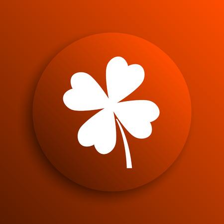 clover button: Clover icon. Internet button on orange background