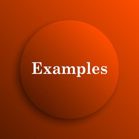 examples: Examples icon. Internet button on orange background Stock Photo