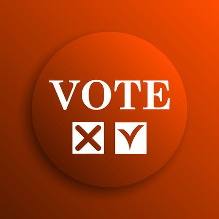 vote icon: Vote icon. Internet button on orange background