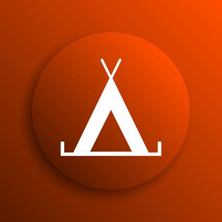 3d bungalow: Tent icon. Internet button on orange background