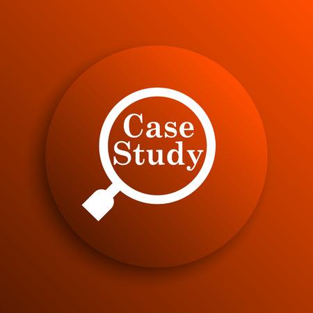 estuche: Icono Estudio de caso. Botón de internet sobre fondo naranja