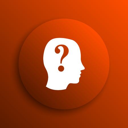 quiz: Quiz icon. Internet button on orange background Stock Photo