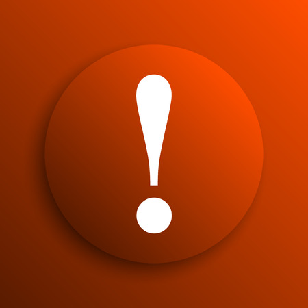 attention icon: Attention icon. Internet button on orange background Stock Photo