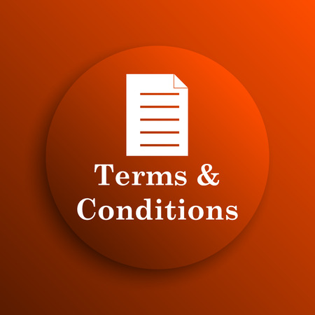 term and conditions: Terms and conditions icon. Internet button on orange background Stock Photo