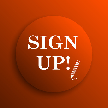 sign up icon: Sign up icon. Internet button on orange background