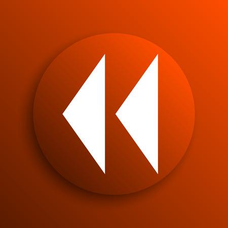 rewind icon: Rewind icon. Internet button on orange background