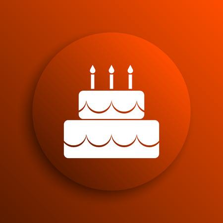 orange cake: Cake icon. Internet button on orange background Stock Photo
