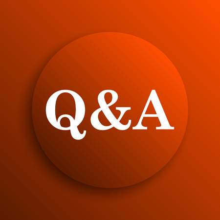 qa: Q&A icon. Internet button on orange background