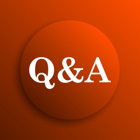qa: Q&A icon. Internet button on orange background