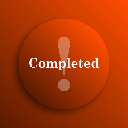 completed: Completed icon. Internet button on orange background Stock Photo