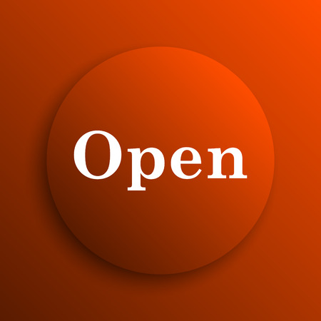 available time: Open icon. Internet button on orange background