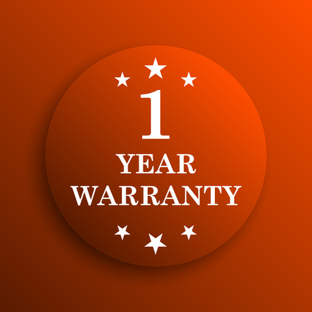1 year warranty: 1 year warranty icon. Internet button on orange background
