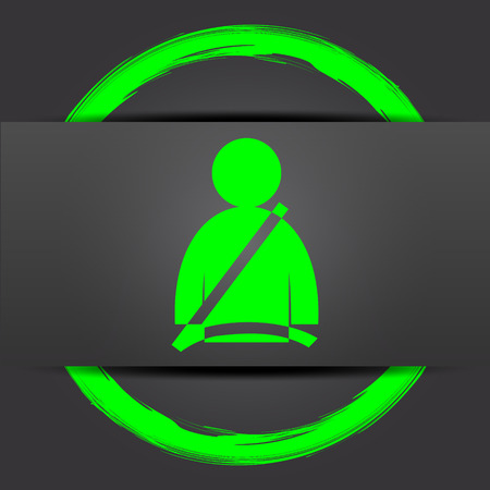 precaution: Safety belt icon. Internet button with green on grey background.