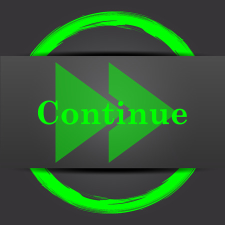 change of direction: Continue icon. Internet button with green on grey background. Stock Photo