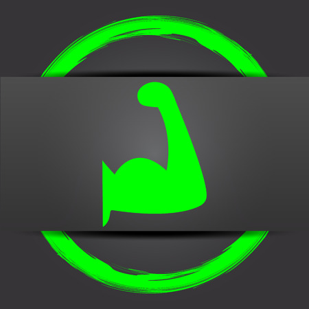 hand lifting weight: Muscle icon. Internet button with green on grey background. Stock Photo