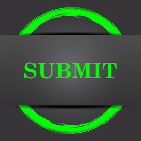 submission: Submit icon. Internet button with green on grey background.