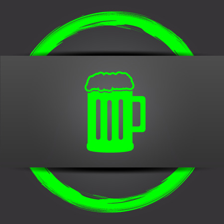 bierglas: Beer icon. Internet button with green on grey background.