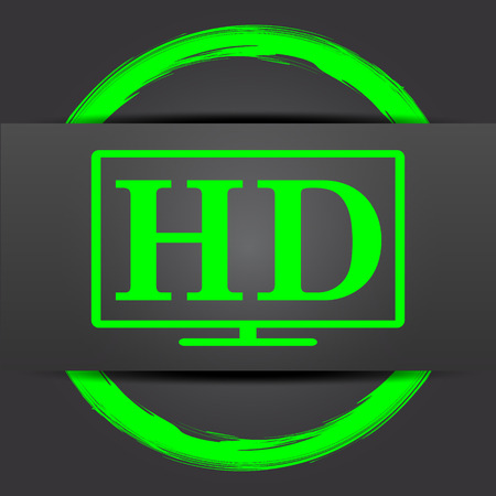full hd: HD TV icon. Internet button with green on grey background.