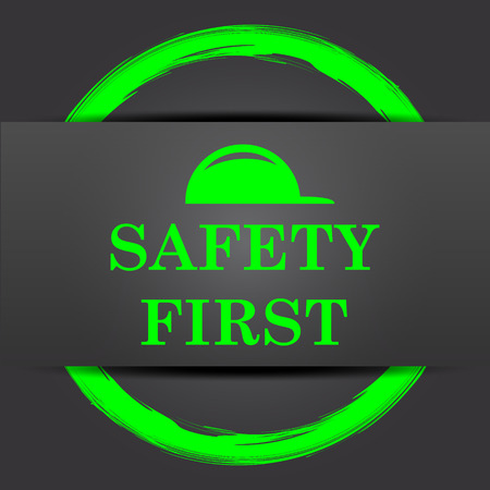 cautionary: Safety first icon. Internet button with green on grey background.