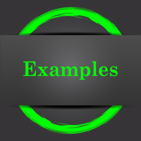 examples: Examples icon. Internet button with green on grey background.