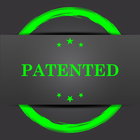 plagiarism: Patented icon. Internet button with green on grey background.