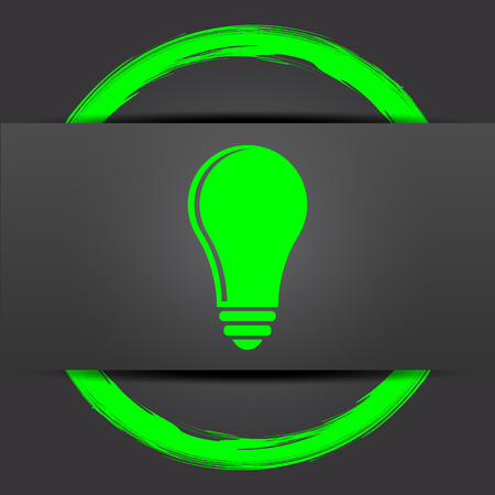 idea icon: Light bulb - idea icon. Internet button with green on grey background.
