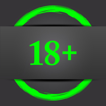 green plus: 18 plus icon. Internet button with green on grey background.