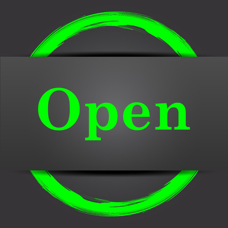 available time: Open icon. Internet button with green on grey background. Stock Photo