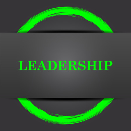 superintendence: Leadership icon. Internet button with green on grey background.