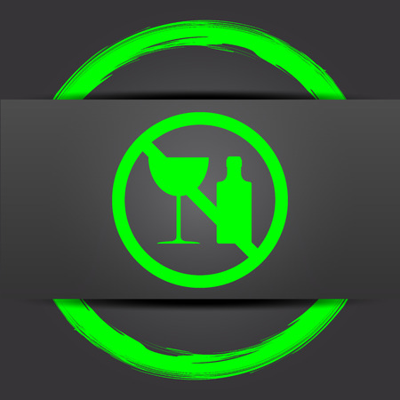 no alcohol: No alcohol icon. Internet button with green on grey background.