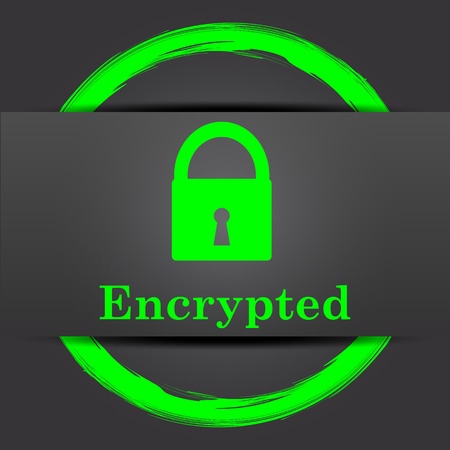 encrypted: Encrypted icon. Internet button with green on grey background.
