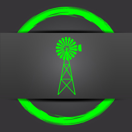 alternate: Classic windmill icon. Internet button with green on grey background. Stock Photo