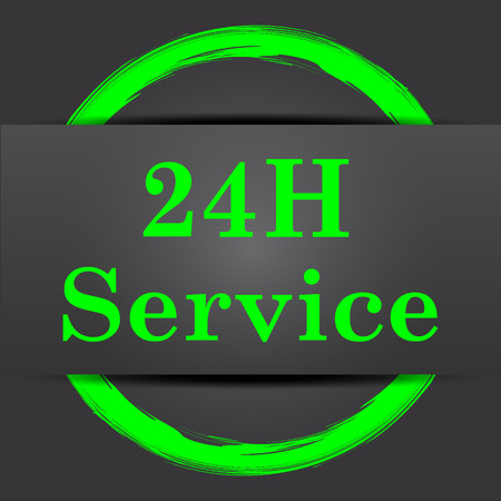 aftersale: 24H Service icon. Internet button with green on grey background. Stock Photo