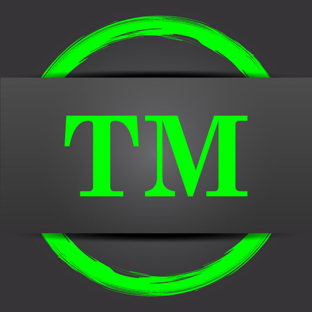 trade mark: Trade mark icon. Internet button with green on grey background. Stock Photo