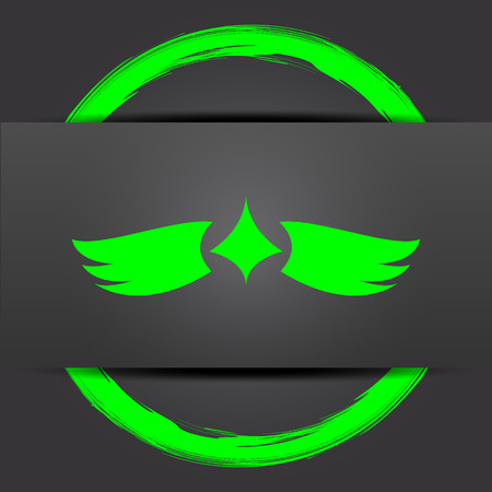 chastity: Wings icon. Internet button with green on grey background. Stock Photo