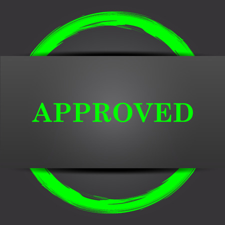 approved icon: Approved icon. Internet button with green on grey background. Stock Photo