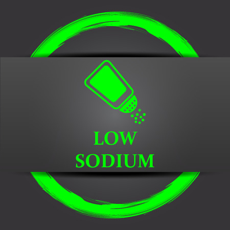 salt free: Low sodium icon. Internet button with green on grey background.