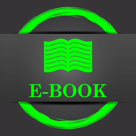 audiobook: E-book icon. Internet button with green on grey background.