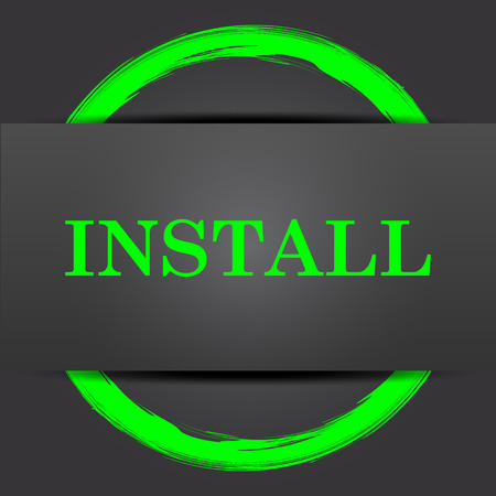 operative system: Install icon. Internet button with green on grey background.