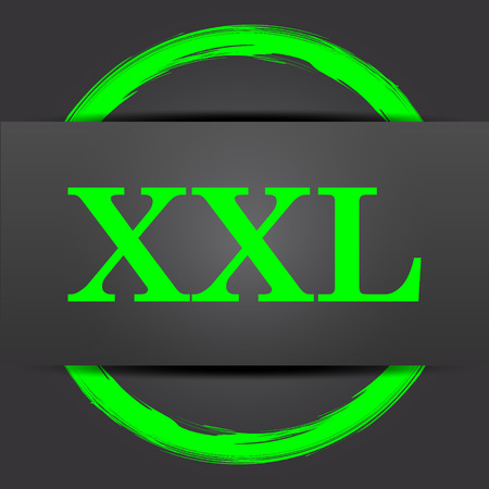 extra large size: XXL  icon. Internet button with green on grey background. Stock Photo