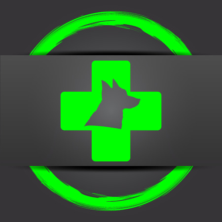 veterinary icon: Veterinary icon. Internet button with green on grey background.