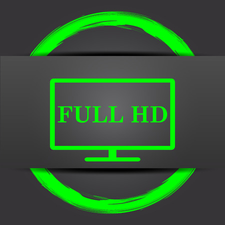full hd: Full HD icon. Internet button with green on grey background.