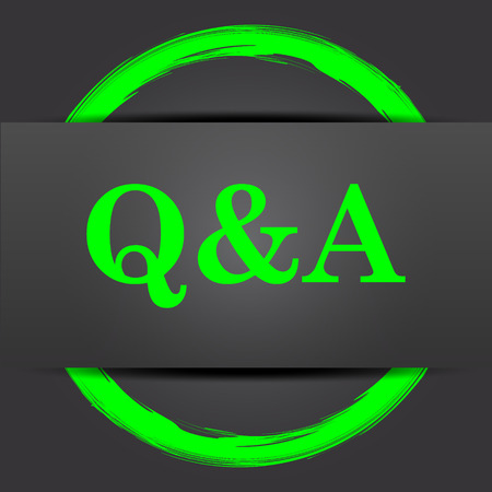 qa: Q&A icon. Internet button with green on grey background. Stock Photo