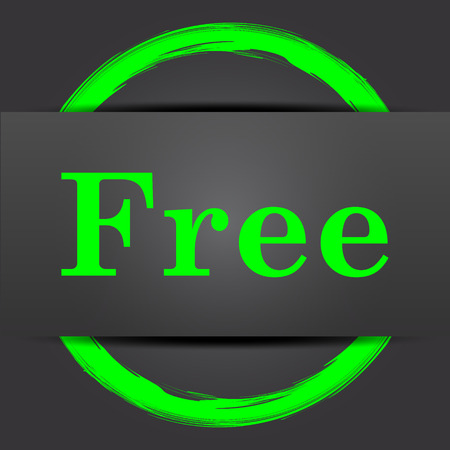 gratuity: Free icon. Internet button with green on grey background.