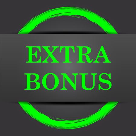 extra cash: Extra bonus icon. Internet button with green on grey background. Stock Photo