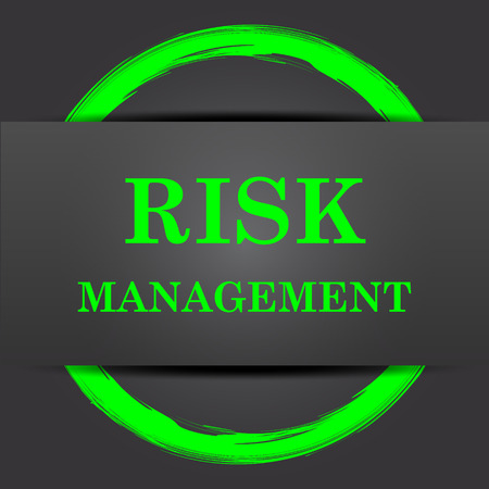 safety symbols: Risk management icon. Internet button with green on grey background.