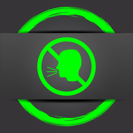 no talking: No talking icon. Internet button with green on grey background.